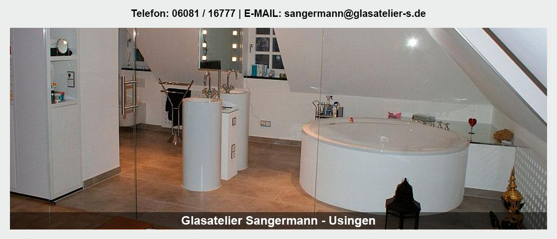 Glas im Raum Weiterstadt - Glasatelier Sangermann: Glasduschen, Trennwände, Schiebetüren