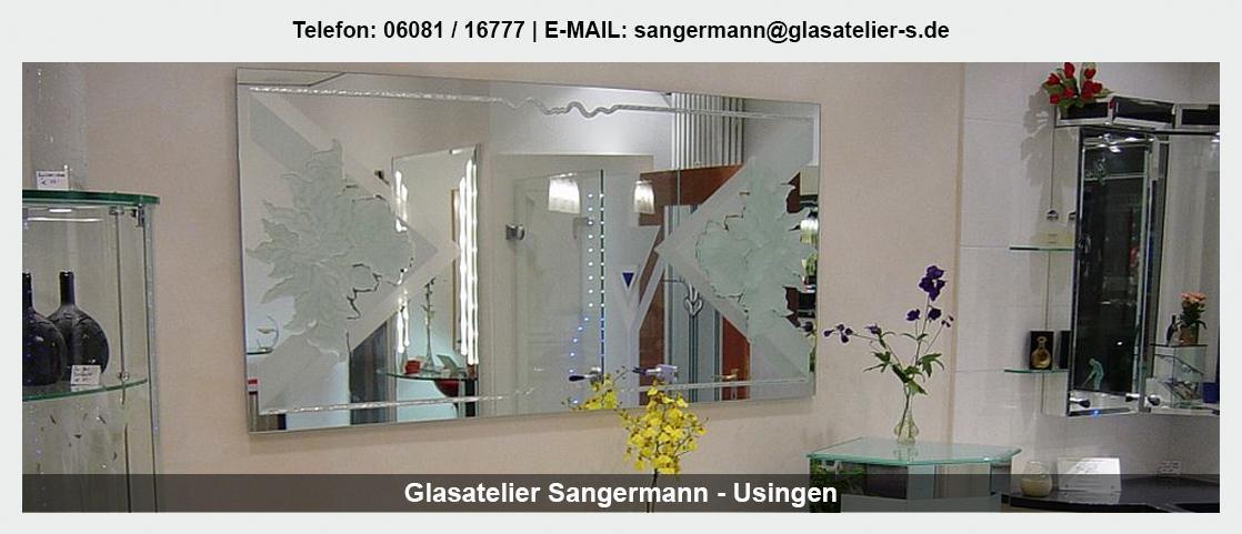 Glas in der Nähe von Bad Endbach - Glasatelier Sangermann: Spiegel, Trennwände, Leuchtdecken